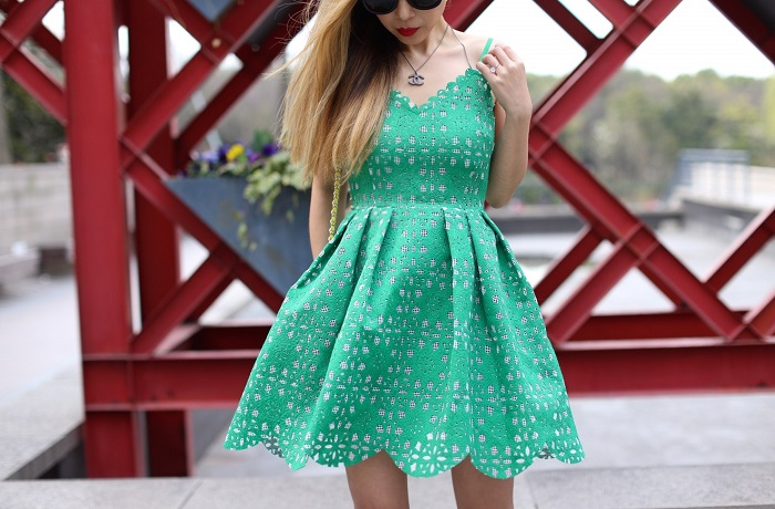 Soloiste bonded lace skater dress, karen walker super duper sunglasses, christian louboutin so kate pumps, tory burch crossbody bag, chanel necklace, shanghai, street style, date night outfit