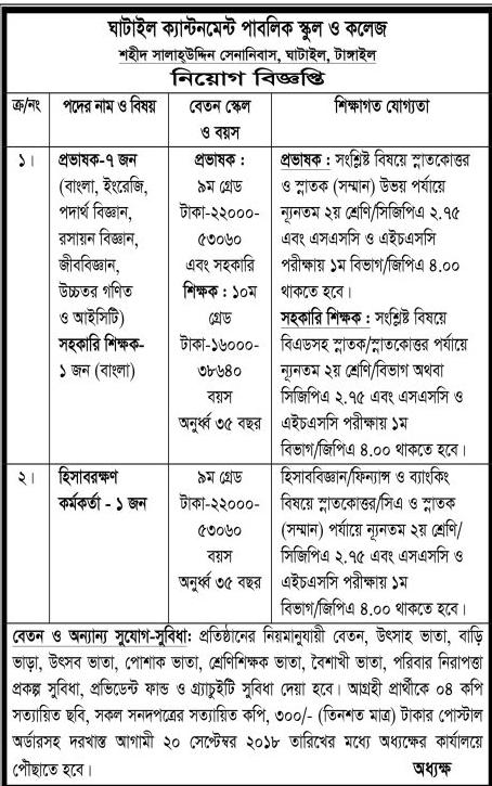 Gatail Cantonment Public School and College Job Circular 2018