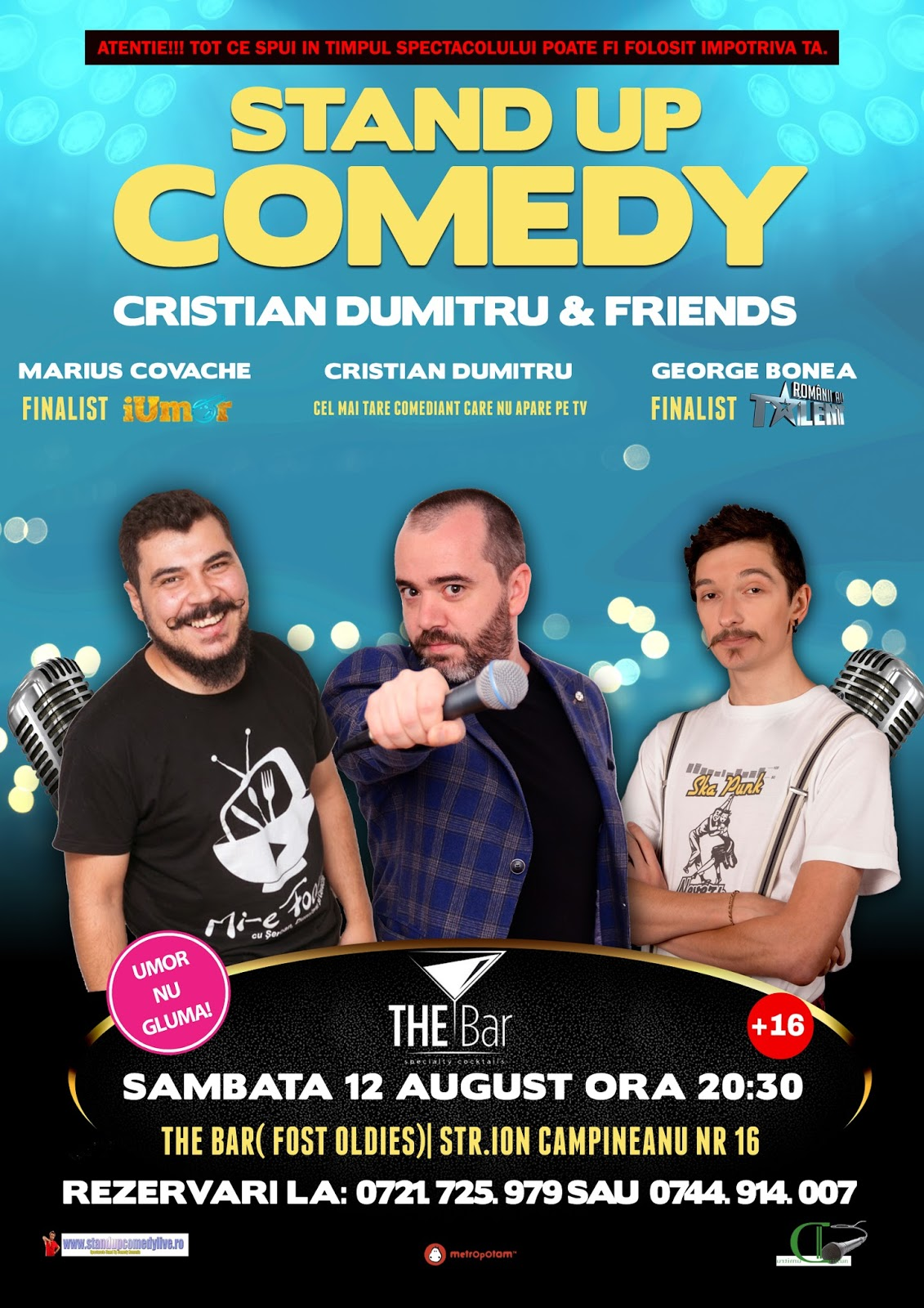 Stand-Up Comedy Bucuresti Sambata 12 august 2017