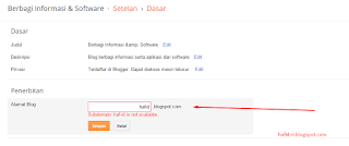ganti alamat subdomain blog