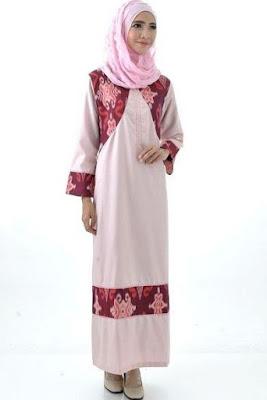 Model Baju Batik Kombinasi Sifon lengan panjang
