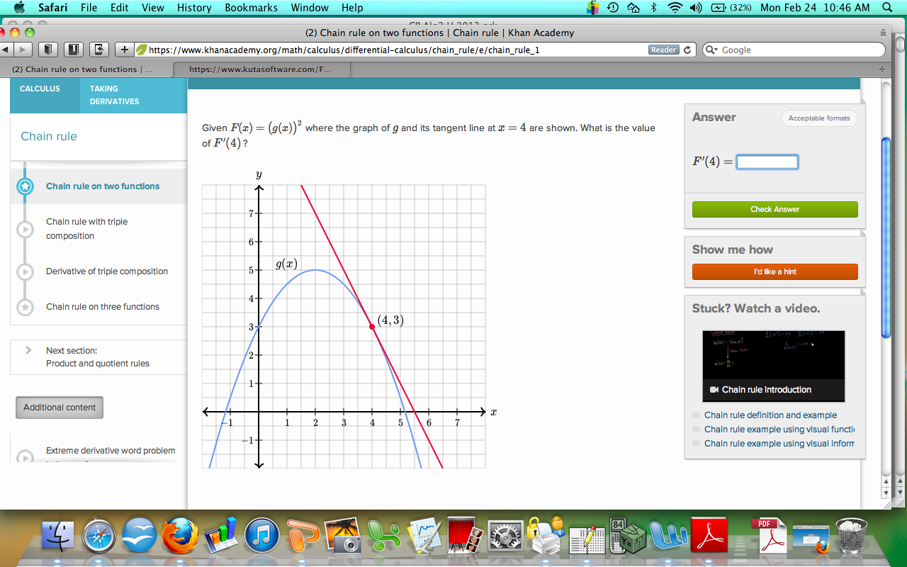 CP Calculus BHS Ms  Lebzelter: Chain Rule Problems from Khan Academy