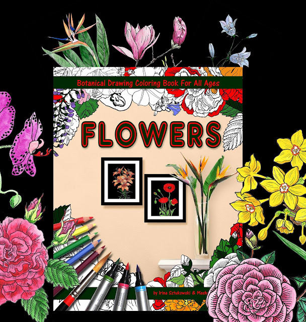 Botanical Flowers Drawings on Black Background Book