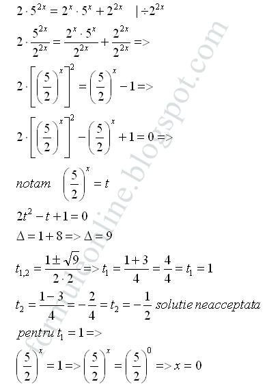 ecuatii exponentiale exercitii rezolvate formuleonline.blogspot.com