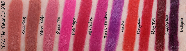 MAC The Matte Lip 2015 Lipstick Swatches & Review