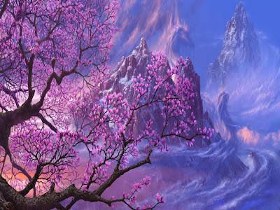 dibujo-de-un-arbol-en-flor-y-montañas-al-fondo