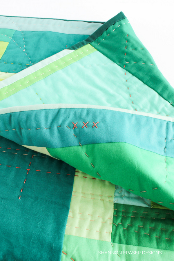 "Stitching details | The ""F"" Quilt - an exploration of feelings through improv quilting 