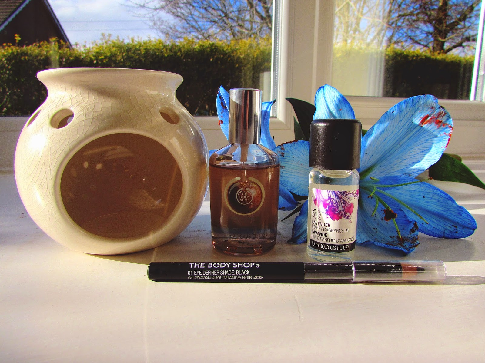 The Body Shop oil burner | Lavender fragrance oil | Shea eau de toilette | Eye definer pencil
