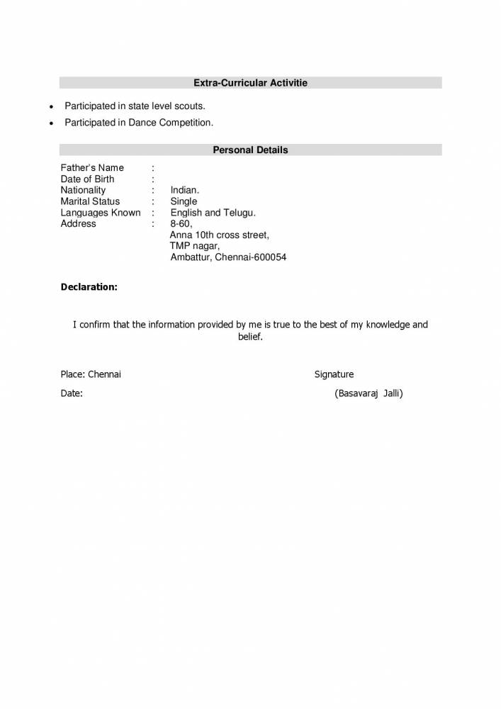 Latest Resume Format for BBA Freshers - Download - Resume ...