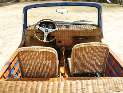 Open jeep with wicker seats