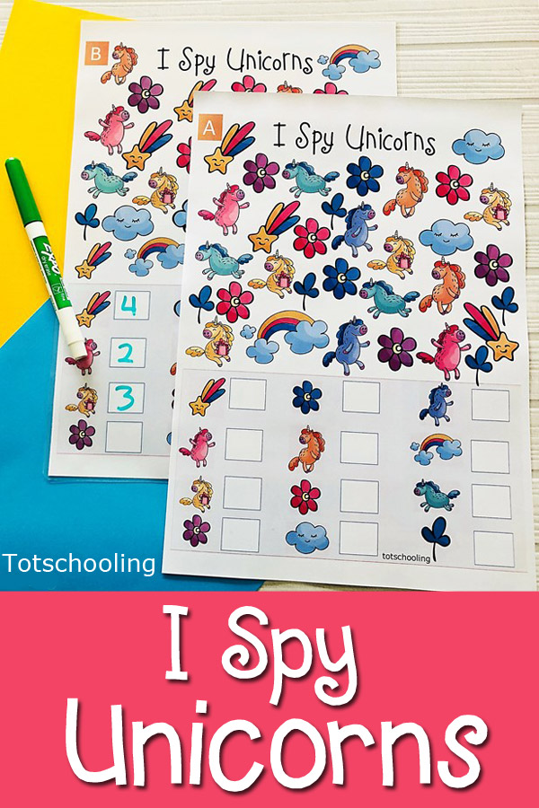 FREE printable Unicorn themed I spy activity for preschool and kindergarten kids to practice visual discrimination, counting, one to one correspondence and number sense. Fun unicorn math activity that kids will love!