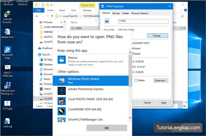 memilih windows photo viewer sebagai default program untuk membuka foto pada windows 10