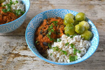 Black Bean Tomato Carrot Curry Bowls with Brown Basmati Rice