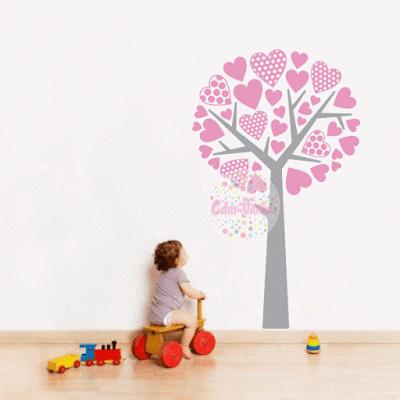 vinilo decorativo pared, infantil, decorá tus ambientes fácil, árbol, corazones