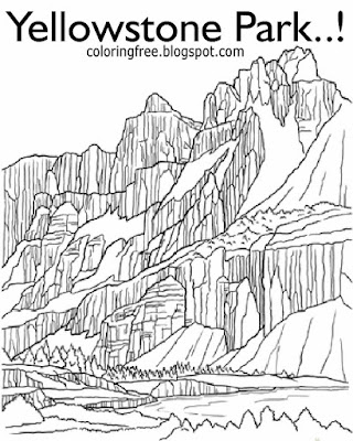 Natural geography long valley caldera Yellowstone printable glass mountain coloring hard pictures