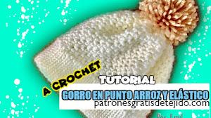 Cómo Tejer Gorro Punto Arroz y Elástico a Crochet / Tutorial