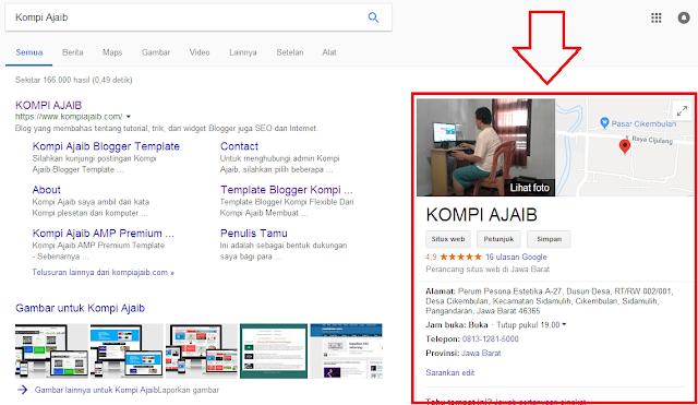Cara menampilkan Google Maps Blog/Web di samping Sitelink pencarian Google