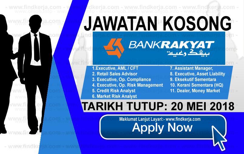 Jawatan Kerja Kosong Terkini Bank Rakyat logo www.findkerja.com mei 2018