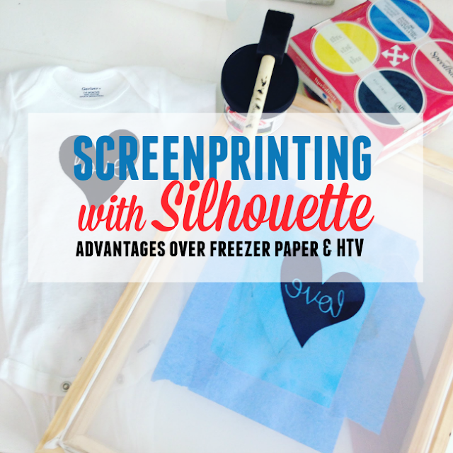 screen printing silhouette, silhouette htv, heat transfer vinyl, silhouette cameo, silhouette tutorials, silhouette screen printing tutorial, multi color screen printing, freezer paper stencils
