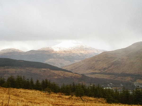 View of snow-capped Ben Lomond and Arrochar