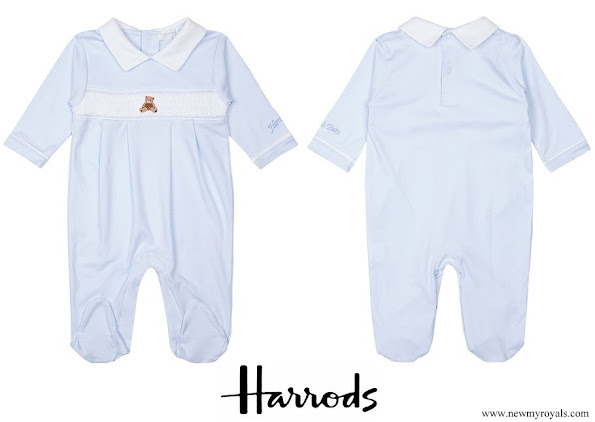 Prince Charles wore Harrods of London embroidered bear and peter pan collar cotton sleepsuit