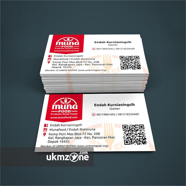 Desain kartu nama untuk usaha kecil mikro UMKM IKM Munafood Depok - UKM ZONE