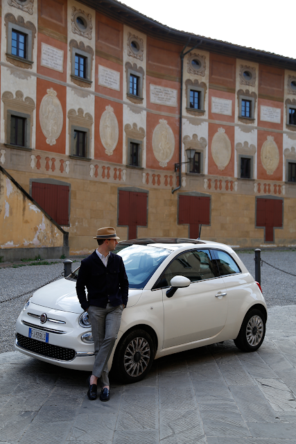 Paul Stood with White Fiat 500 in Front of Piazza della Repubblica