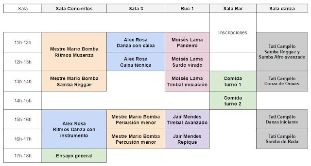 Programa con horarios del evento