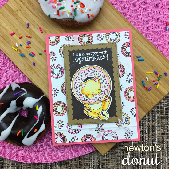 Cat and Donut Card by Jennifer Jackson | Newton's Donut Stamp Set by Newton's Nook Designs #newtonsnook #handmade