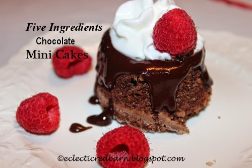Eclectic Red Barn: 5 Ingredient Chocolate Mini Cakes