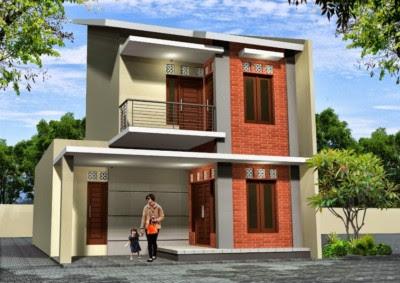 Tampak Depan Rumah Minimalis modern 2 Lantai type 36