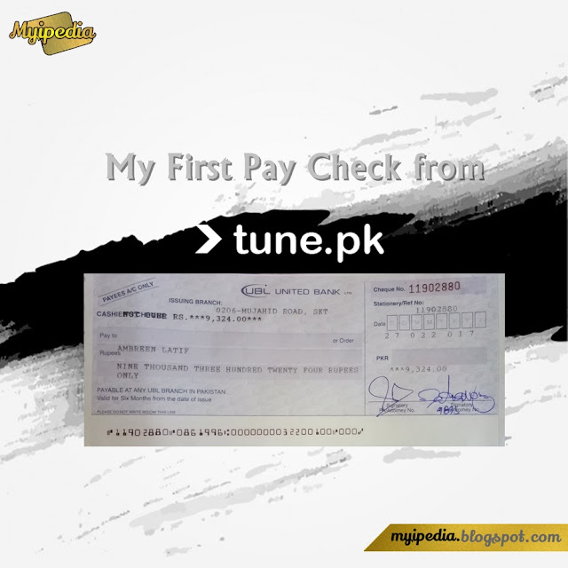 First Pay Check from Tune.PK - first payment