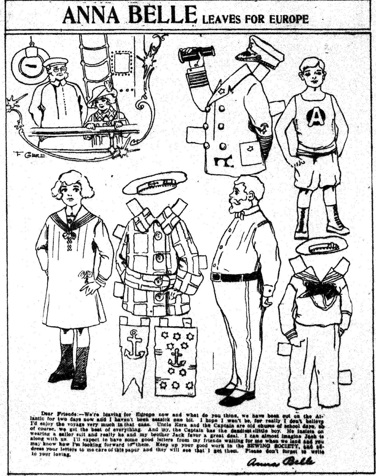 Mostly Paper Dolls: ANNA BELLE Paper Doll Series, 1913