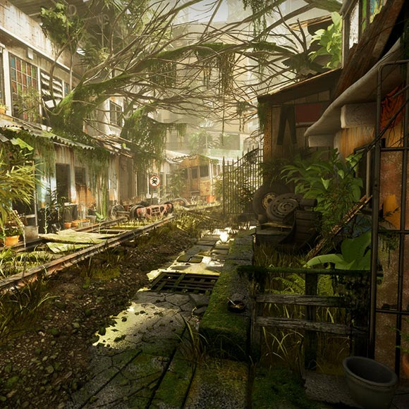 Overgrown Railroad Wallpaper Engine