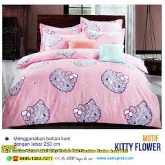 Sprei Custom Katun Lokal Kitty Flower Pink Karakter Kartun Anak Pink