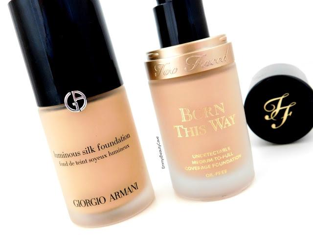 Giorgio Armani Luminous Silk vs Too Faced Born This Way Foundation
