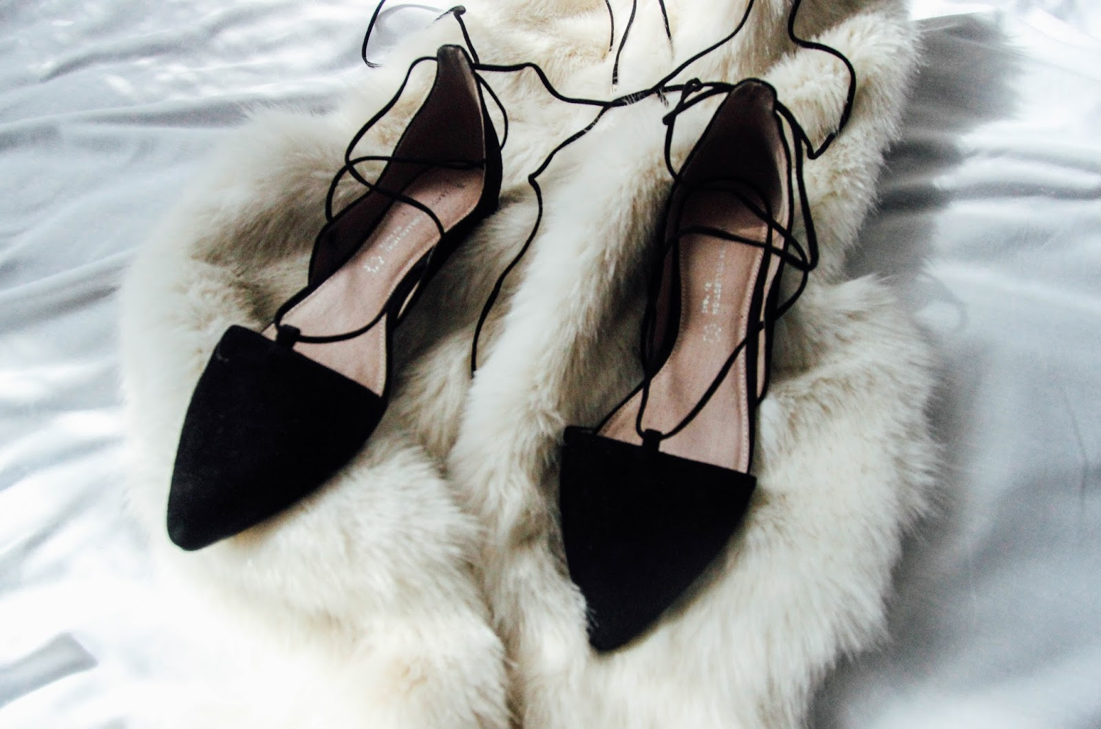 Pointed Suede Lace Up Ballerina Flats