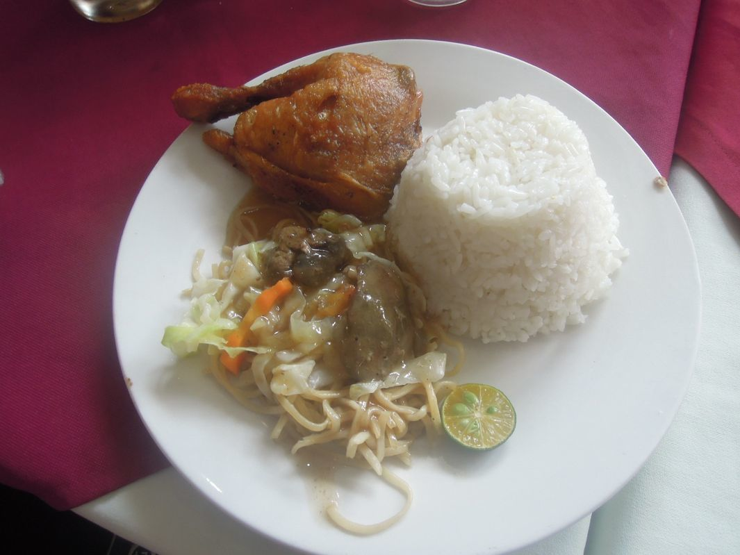 Fried chicken meal with pancit canton and rice at Lolo Claro's Restaurant