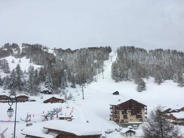 The view from chalet Roussette to 1800 ski lift - La Plagne