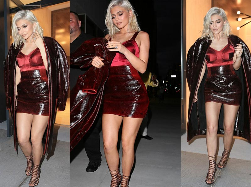 Kylie Jenner hits public scene in her new blonde hair