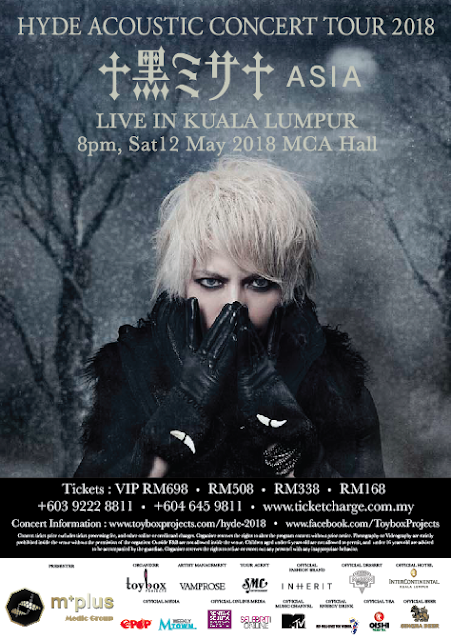 [Upcoming Event] HYDE Acoustic Concert Tour 2018 黒ミサ Asia Live in Kuala Lumpur