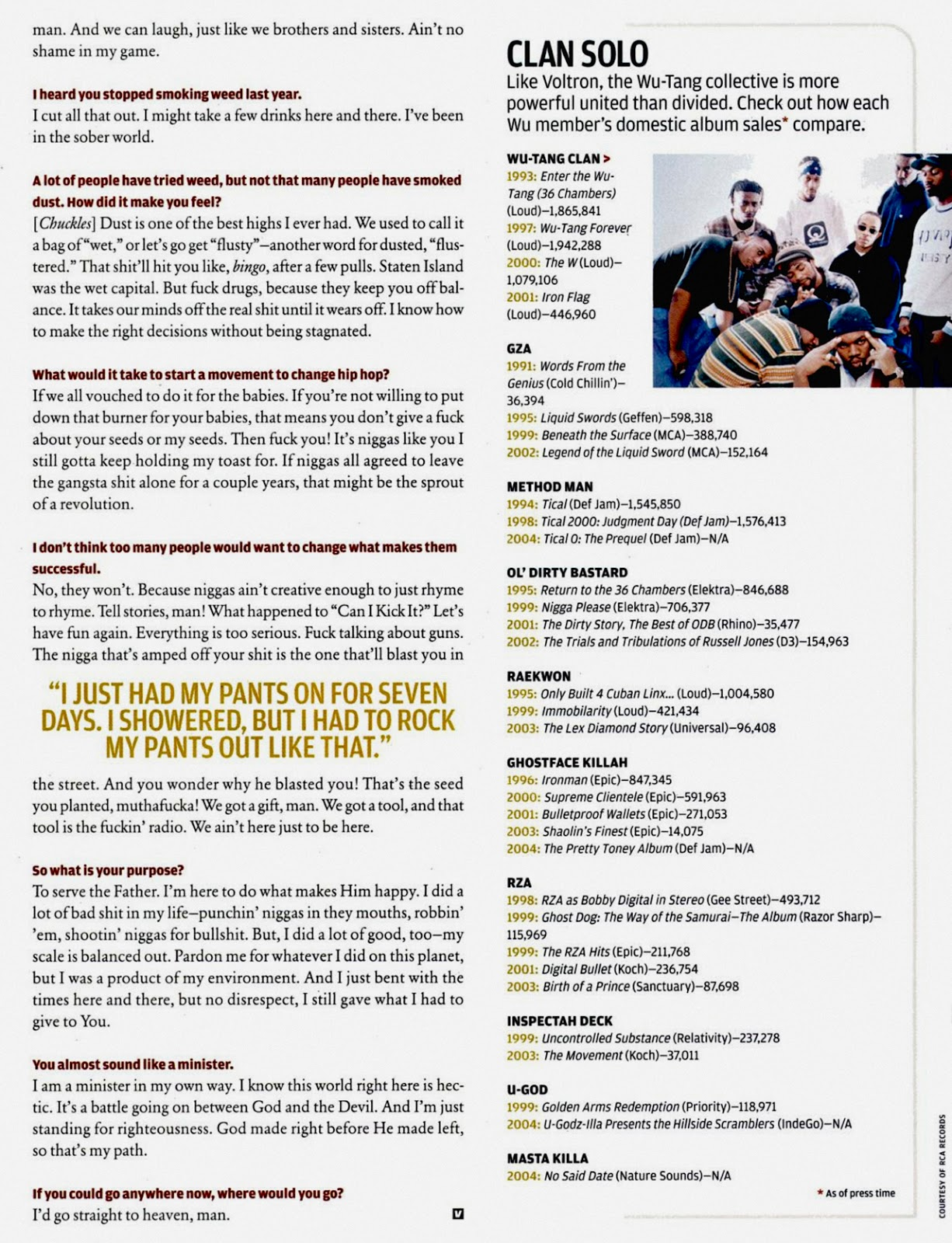 Ghostface Killah in Vibe Magazine (May, 2004) Page 3