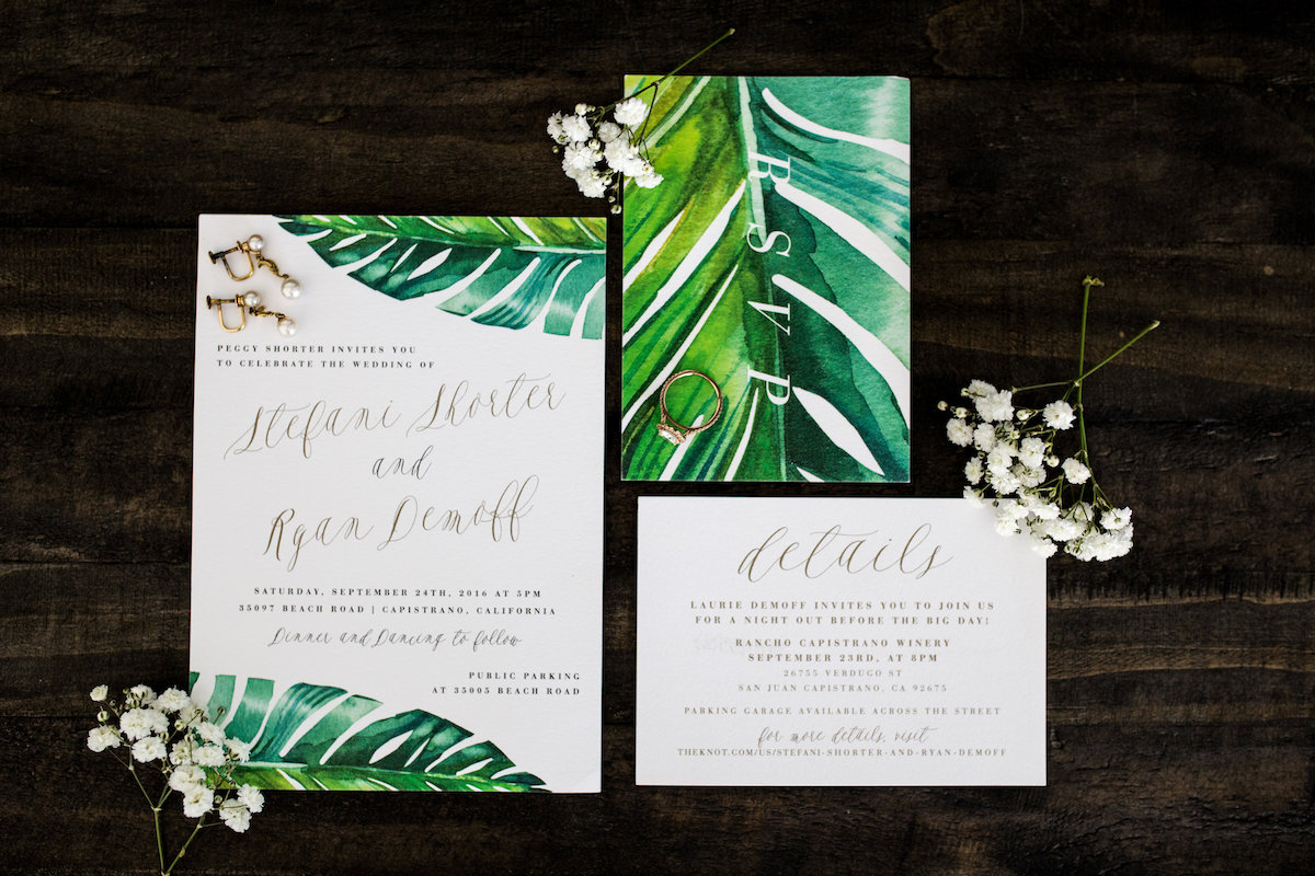 Tropical Wedding Invitations | Photography: Photography by Ben and Kadin | Wedding Planner: Jessica Lauren Events