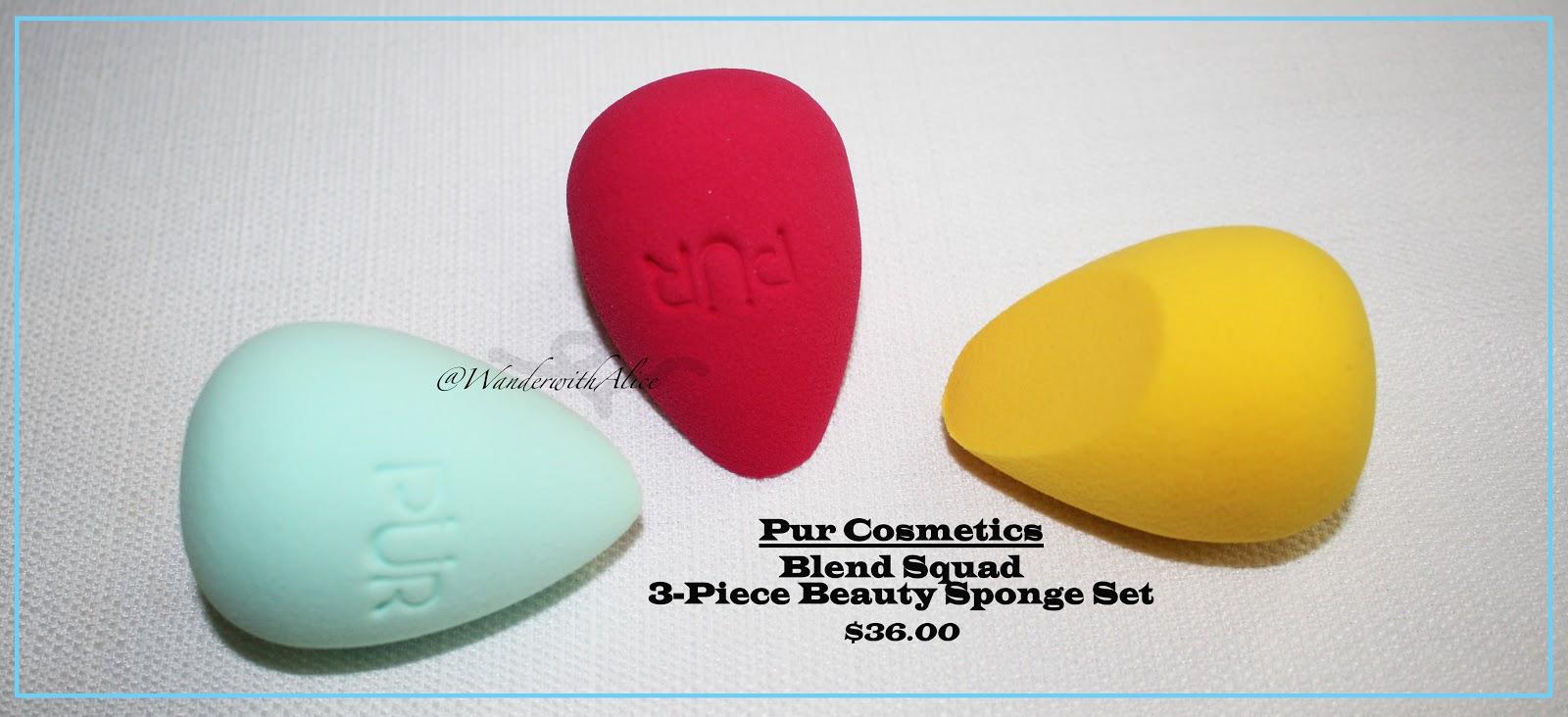 Pur Cosmetics Blend Squad 3 Piece Beauty Sponge Set Egg Drop Blender Contouring