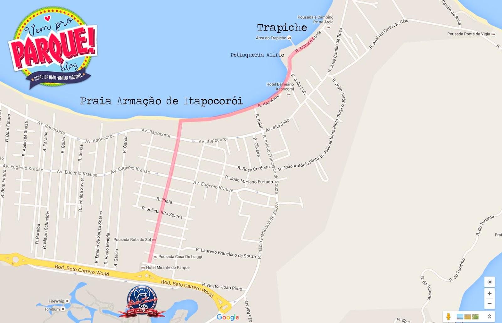 Mapa praias de Penha e praia Trapiche
