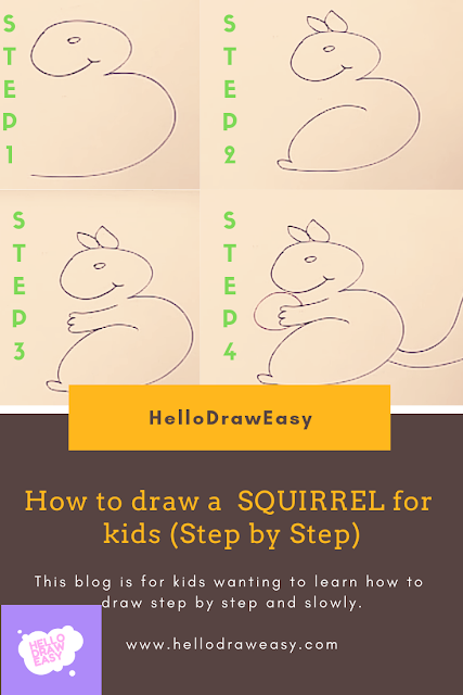 How to draw a SQUIRREL for kids (Step by Step)