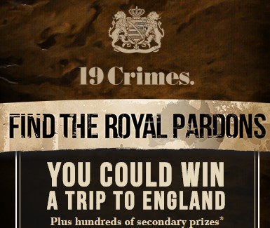 Enter this instant win game and sweepstakes for your chance to win great 19 Crimes branded prizes or iTunes gift cards instantly or a trip to ENGLAND worth over $7000!