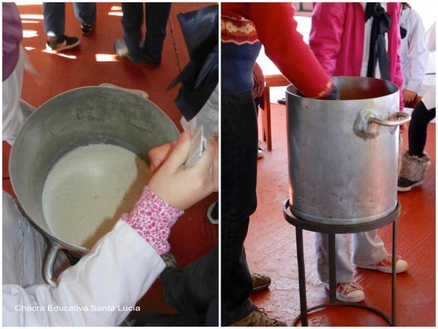 Revolviendo la mezcla - Chacra Educativa Santa Lucía
