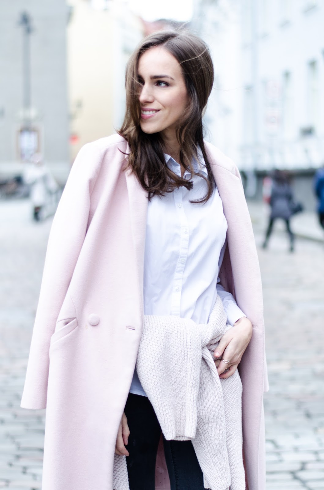 pink coat white shirt outfit