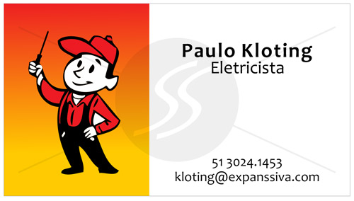 cartoes de visita eletricistas mascote - Cartões de Visita para Eletricistas, Criativos e plugados